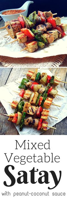 Colorful veggies marinated in coconut milk. curry and lime, then skewered and grilled. Serve with a sweet-spicy peanut sauce for a great vegan appetizer.