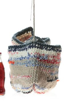 674c261db33 crocheted bucket bag in heavy multicolour cotton and linen - DANIELA GREGIS  Crochet Granny, Crochet