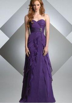 Discount Chiffon Strapless Sweetheart A-Line Long Bridesmaid Dress Free Measurement