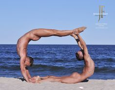 Nude male acrobats. Kyle Kier and Stephane Haffner. Photo by John Falocco.