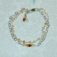 Double Strand Citrine and Sterling Silver Bracelet, Ombre Gemstone Bracelet, Shaded Citrine Bracelet by DolphinMoonCreations #etsyjewelry #citrinebracelet