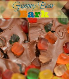 Perfect candy to have your kids make over the summer.  Makes me feel like I'm in the candy store.  Little Dairy on the Prairie Gummy Bear Bark, Kids Dessert Recipe, No cook dessert, Gummy Bear Candy