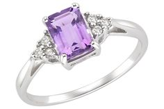 Amethyst and Diamond 10K White Gold Ring