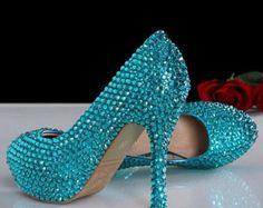 Aqua glittery high heels