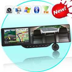 Bluetooth Rearview Mirror with Built-in GPS Navigation and 720P HD DVR (5 Inch H