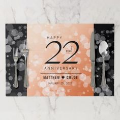 Elegant 22nd Copper Wedding Anniversary Paper Placemat