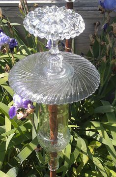 Repurposed glass Garden Totem. Something different!!