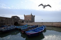 Harbor in Essouria, Morocco. Ticket To Ride, Marrakesh, Casablanca, Tower Bridge, Places To Travel, Places Ive Been, Third, Boat, Architecture