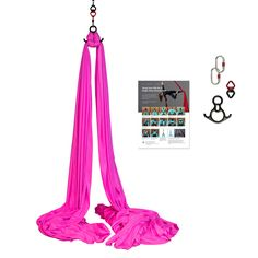 Aerial Silks Equipment Includes Guides Hardware Premium Deluxe Low-Stretch Fabric Red