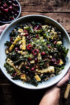 Sunflower Seed, Kale and Cherry Salad with Savory Granola by halfbakedharvest #Salad #Healthy