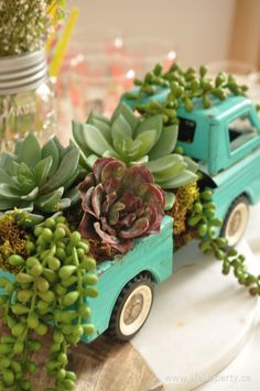 Spring Home Tour.  I love these succulents in a vintage truck.