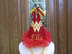 Girls 1st Birthday Party Hat - Wonder Woman Theme Party - Free Personalization - FAST SHIPPING on Etsy, $24.99