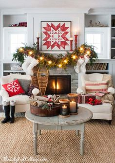 Quilt Christmas Mantel Decor | The Lilypad Cottage