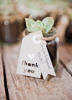 Combined favors and place cards ... small plant / succulent in jar with thank you and name tags attached.