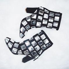 Giuseppe Zanotti designed a custom pair of ankle boots embellished with tiny mirrors. #GiuseppeZanotti