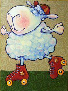 "Skating Sheep - 12"" x 18"" Acrylic Painting on Canvas flying shoes art studio"