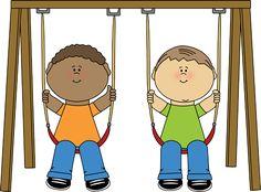 Kids on a swing.