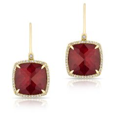 Anne Sisteron  14KT Yellow Gold Ruby Mini Cushion Diamond Earrings ($1,175) ❤ liked on Polyvore featuring jewelry, earrings, gold, ruby jewelry, earring jewelry, gold jewellery, gold jewelry and gold diamond earrings