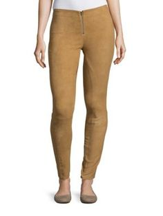 ALICE AND OLIVIA Zip-Front Suede Pants. #aliceandolivia #cloth #pants