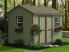 Sheds - house colour with white trim and simple landscaping around