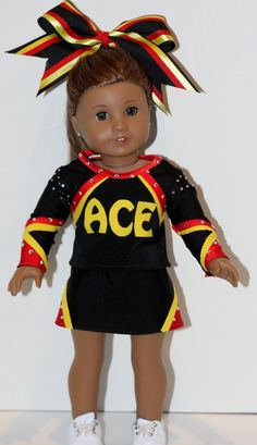 "Custom made cheer uniform for a member of the ""ACE"" cheer team! by OnlyOne4Dolls on Etsy"