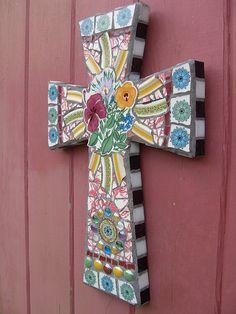 """Latest mosaic art cross titled """"Easter Bouquet""""."""
