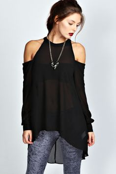 efec039390 Isabelle High Neck Cut Out Shoulder Blouse at boohoo.com