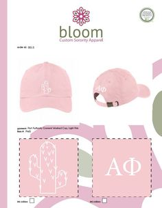 Alpha Phi Pink Cactus Hat made by Bloom Sorority Apparel