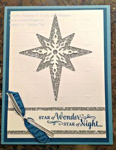 Holiday card using Stampin' Up! Star of Light bundle; Marina Mist and Dapper Denim color combo