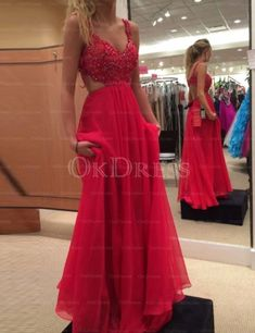 Backless A-line Beading Chiffon Sleeveless Red Natural Spaghetti Straps Prom Dresses Women's Dresses, A Line Prom Dresses, Floor Length Dresses, Pretty Dresses, Plus Size Dresses, Flower Girl Dresses, Formal Dresses, Prom Party, Wedding Party Dresses