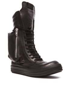 Image 1 of Rick Owens Cargobasket Leather Boots in Black