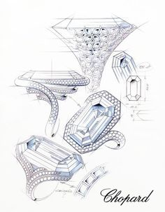 diamond ring renderings | Emerald-cut-diamond-85ct-Ring-sketches. Chopard