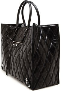 41a29b56a213 Balenciaga Papier Quilted Leather Tote Black Leather Tote Bag