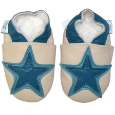Cream and Denim Blue Star Baby Boys Shoe