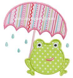 Umbrella Frog Applique Design at Applique Cafe #rileyblake #summer breeze #bellablvd