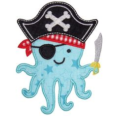 Octopus Pirate Applique - Planet Applique Inc - I would switch the fabric up, but cute! Baby Embroidery, Applique Embroidery Designs, Machine Embroidery Patterns, Applique Patterns, Applique Designs For Boys, Pirate Quilt, Pirate Parrot, Boys Quilt Patterns, Pirate Baby