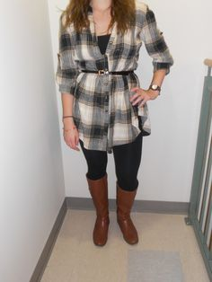 Belted long flannel with leggings and boots
