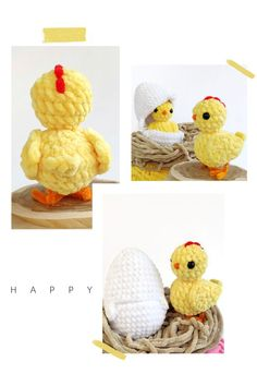 CROCHET CHICKEN PATTERN, Amigurumi baby chick in egg surprise, Crochet Easter Egg
