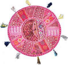 "32"" / 80cm Pink-XL-32-034-Big-Round-Floor-Pillow-Cushion-round-seating-Bohemian-Patchwork-pouf"