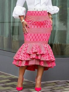 Mermaid Mid-Calf Print High Waist Women's Skirt