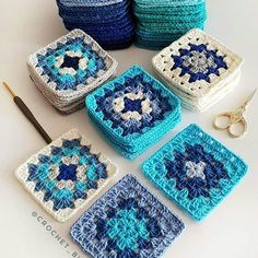 Crochet Square Blanket, Granny Square Crochet Pattern, Crochet Squares, Crochet Blanket Patterns, Crochet Motif, Crochet Designs, Crochet Stitches, Knitting Patterns, Granny Squares