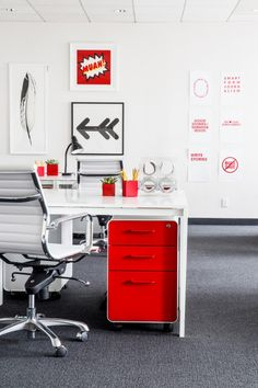 The Information office in San Francisco - Red West 18th File Cabinets + Pen Cups from Poppin