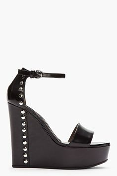 MARNI Black Leather Studded Wedge Sandals