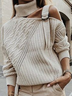 Casual Single Shoulder Collar Pure Color Sweater Source by helgahartwig the shoulder sweater Casual Sweaters, Long Sweaters, Sweaters For Women, Loose Sweater, Long Sleeve Sweater, Sweater Sale, Ribbed Sweater, Cotton Sweater, Moda Oversize