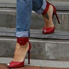 cool Shoespie Buckle Peep-toe Dress Sandals