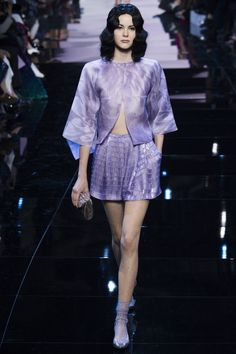 Sheer Lilac Jacket and Short Skirt - Armani Privé Spring 2016 Couture Fashion Show