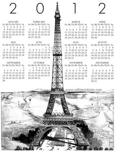 Eiffel Tower Victorian 2012 free printable calendar! Perfect go-along with Passport France http://bit.ly/ozk3WR