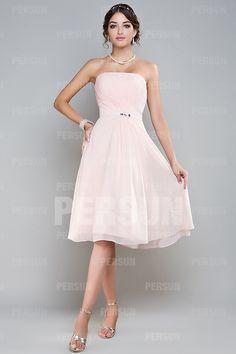 Robe demoiselle d'honneur rose en mousseline sans manche plissés ceinturée