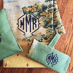 Monogrammed Kitchen Skillet Holder Personalized Green French Country Linens