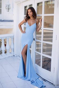 Sky Blue Bodycon Formal/Prom Dress - Alamour The Label Baby Blue Prom Dresses, Blue Mermaid Prom Dress, Pretty Prom Dresses, Grad Dresses, Ball Dresses, Beautiful Dresses, Bridesmaid Dresses, Mermaid Gown, Matric Dance Dresses